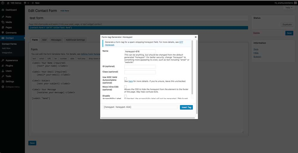 Setting up the Contact Form 7 Honeypot