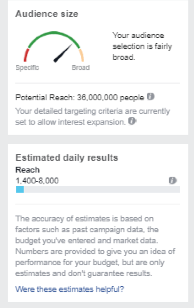 estimating the facebook audience size